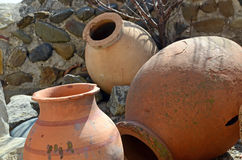 Kvevri - ancient clay vessels for wine in the cave city Uplistsikhe, Georgia Royalty Free Stock Image