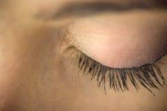 Kvinnaöga med extremt långa ögonfrans royaltyfri bild