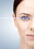 Kvinnaöga med laser-korrigeringsramen royaltyfri foto
