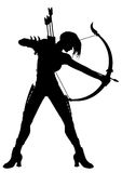 Kvinna Archer Silhouette stock illustrationer