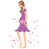 Kvinna av, gravid kvinna Arkivbilder