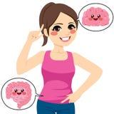 Kvinna Brain Intestine stock illustrationer