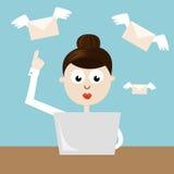 Kvinna - chef som överför emails Arkivbild