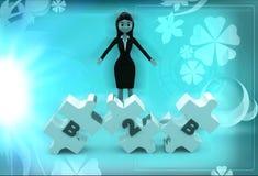 kvinna 3d med B2B text som inristas i pusselillustration Fotografering för Bildbyråer