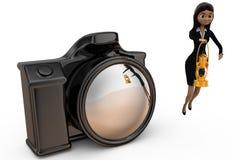 kvinna 3d med kamerabegrepp Fotografering för Bildbyråer