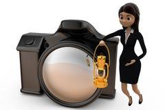 kvinna 3d med kamerabegrepp Royaltyfri Fotografi