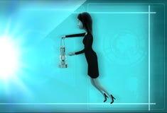 kvinna 3d med lyktaillustrationen Royaltyfri Fotografi