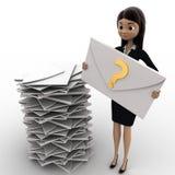 kvinna 3d med många poster i inbox och en post med frågefläcken i handbegrepp Arkivfoto