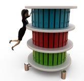 kvinna 3d med mappställningsbegrepp Arkivbild