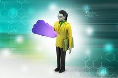 kvinna 3d med molnbegrepp Arkivfoto