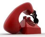 kvinna 3d med stort rött telefonbegrepp Arkivbilder