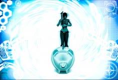 kvinna 3d med yxa- och piggybankillustrationen Fotografering för Bildbyråer