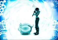 kvinna 3d med yxa- och piggybankillustrationen Royaltyfri Foto