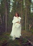 Kvinna den mystiska skogen Royaltyfria Bilder