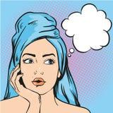 Kvinna efter en dusch som tänker om något Vektorillustration i komisk stil för popkonst Arkivbilder