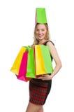 Kvinna efter shopping spree Arkivfoton