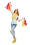 Kvinna efter shopping spree Arkivbild