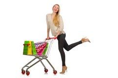 Kvinna efter shoppingen royaltyfria bilder