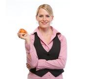 kvinna för äppleanställdholding royaltyfria bilder