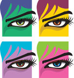 kvinna för ögonillustrationvektor Stock Illustrationer