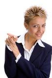 kvinna för 5 affär arkivbild