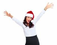 Kvinna för affär för jultomtenhjälpredajul. Arkivfoto