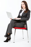kvinna för affärsdator Royaltyfria Bilder