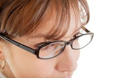 kvinna för affärsexponeringsglasstående arkivfoton
