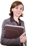 kvinna för affärsfallanteckningsbok Arkivfoto