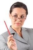 kvinna för affärsholdingblyertspenna Royaltyfri Bild