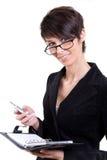 kvinna för affärskalendertelefon Arkivbild