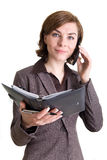 kvinna för affärskalendertelefon Royaltyfri Fotografi