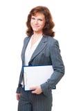 kvinna för affärsstandtablet Arkivfoto
