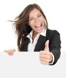 kvinna för affärsteckenframgång royaltyfri foto