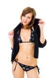 kvinna för bikinidressingomslag Royaltyfria Bilder