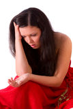kvinna för bröllop för skilsmässaguldholdingcirkel SAD Arkivfoto