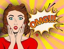 Kvinna för brunett för OMG-popkonst illustration för vektor för popkonst retro stock illustrationer