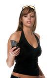 kvinna för celltelefon Arkivbild