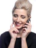 kvinna för celltelefon Arkivbilder