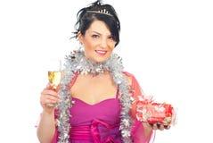 kvinna för champagnejulgåva Royaltyfri Bild
