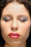 kvinna för closeupframsidamakeup Arkivbilder
