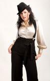 kvinna för danshattskjorta Royaltyfri Foto