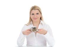 kvinna för espresso för kaffekopp dricka Royaltyfri Fotografi