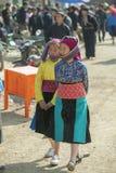 Kvinna för etnisk minoritet, på den gamla Dong Van marknaden Arkivbild