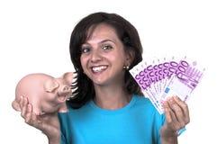 kvinna för euro för 500 grupp piggy Arkivfoto