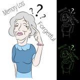 kvinna för förlustminnespensionär royaltyfri illustrationer