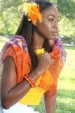 kvinna för framsida för afrikansk skönhetmångfald etnisk Arkivfoton
