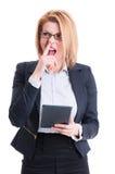 Kvinna för galen och rolig affär arkivfoton