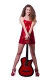 Kvinna för gitarrspelare Fotografering för Bildbyråer