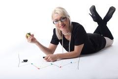 kvinna för graf för blond draw för affär gullig finansiell fotografering för bildbyråer